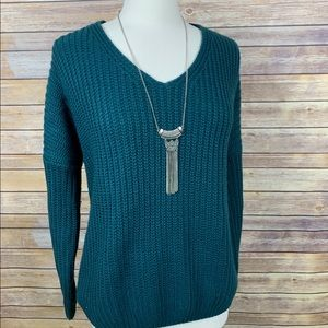 Main Strip Teal Sweater w/Lace-Up Tie in Back Lrg